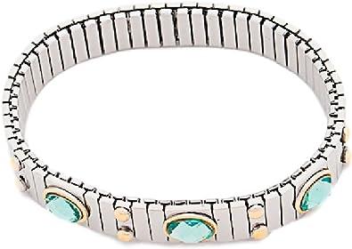 Pulsera Acero Mujer Elastica con Cristales y Punto de Oro (Amatista): Amazon.es: Joyería