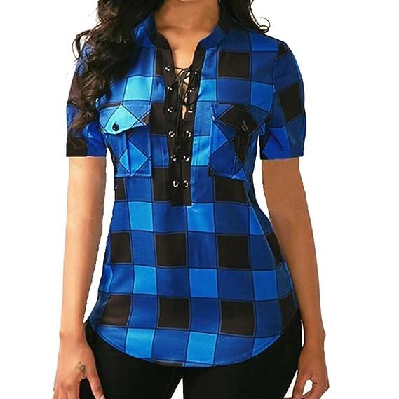 Lenfesh Camisa de Cuadros Manga Corta Cuello en V Mujer Verano Suelta Blusa Bolsillo Mezcla de