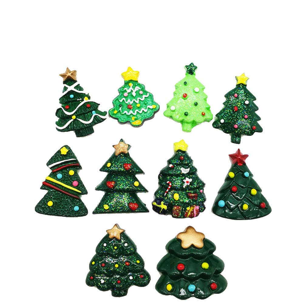 Christmas Resin Saint Santa Snowman Tree Bell Deer Suits Candy Cane Flatback Beads for Handcraft Christmas Indoor Outdoor Decoration Phone Deco (01)