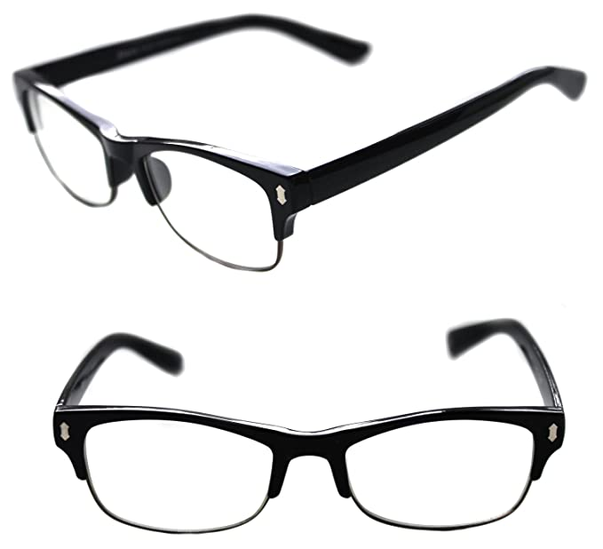 5d79ac85ff596 Men s Small Rectangular Clubmaster Designer Nerd Half Shell Lens Eye  Glasses Fashion (Black)
