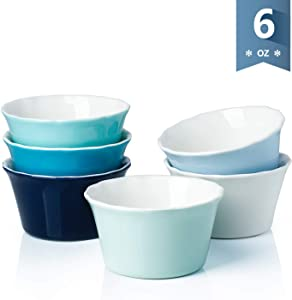 Sweese 511.003 Porcelain Souffle Dish, 6 Ounce Ramekins for Baking, Set of 6, Cool Assorted Color