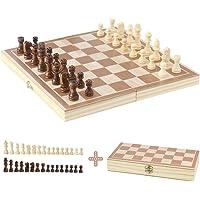 EchecEnfant en Bois Jeu d'échecs Jeux de Société Loisir Creatif Pliant Echiquier Plateau 32 Jeu Echecs Bois Jouet en Bois 3 4 5 Ans Fille Garcon