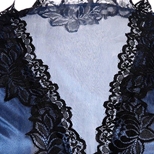 ZEARO Sexy Lingerie Ensemble pour Femme Robes de Chambre et Kimonos Dentelle Nuisete Satin avec Strings et Tangas