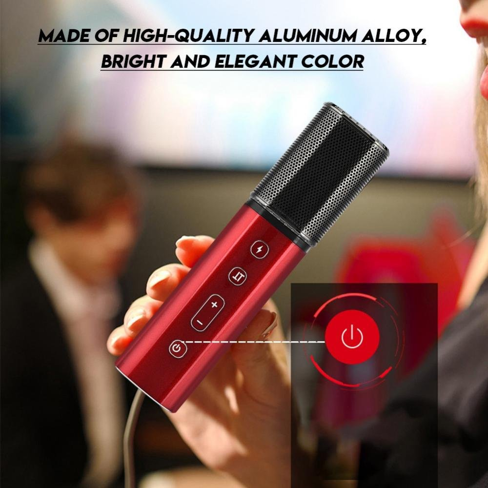 fosa Wireless Bluetooth Karaoke Microphone, Portable Mini Phone Microphone Support Stereo Reverb Volume and Adjustment Function for Home Party Recording by fosa (Image #4)