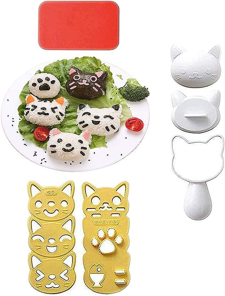 Onigiri Mold, Bento Box Accessories Bento Boxes for Kids Lunches Decor Lunch Box for Kids Kawaii Kitchen Sushi Kit of Animal Shape Sushi Mold DIY Press Sandwich Maker for Sandwich Press