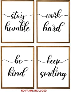 "Be Kind, Work Hard, Stay Humble, Keep Smiling Set of 4 Prints - Unframed, Office Wall Decor, Office Sign, Office Wall Art Gift For Home (Be Kind, Work Hard, Stay Humble, Keep Smiling, 8"" x 10"")"