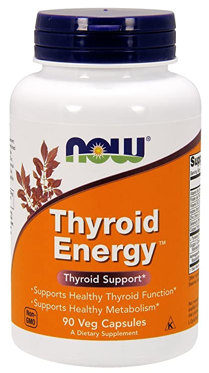 Now Foods Thyroid Energy - Energía tiroidea, sin gluten y soya, 90 cápsulas vegetales