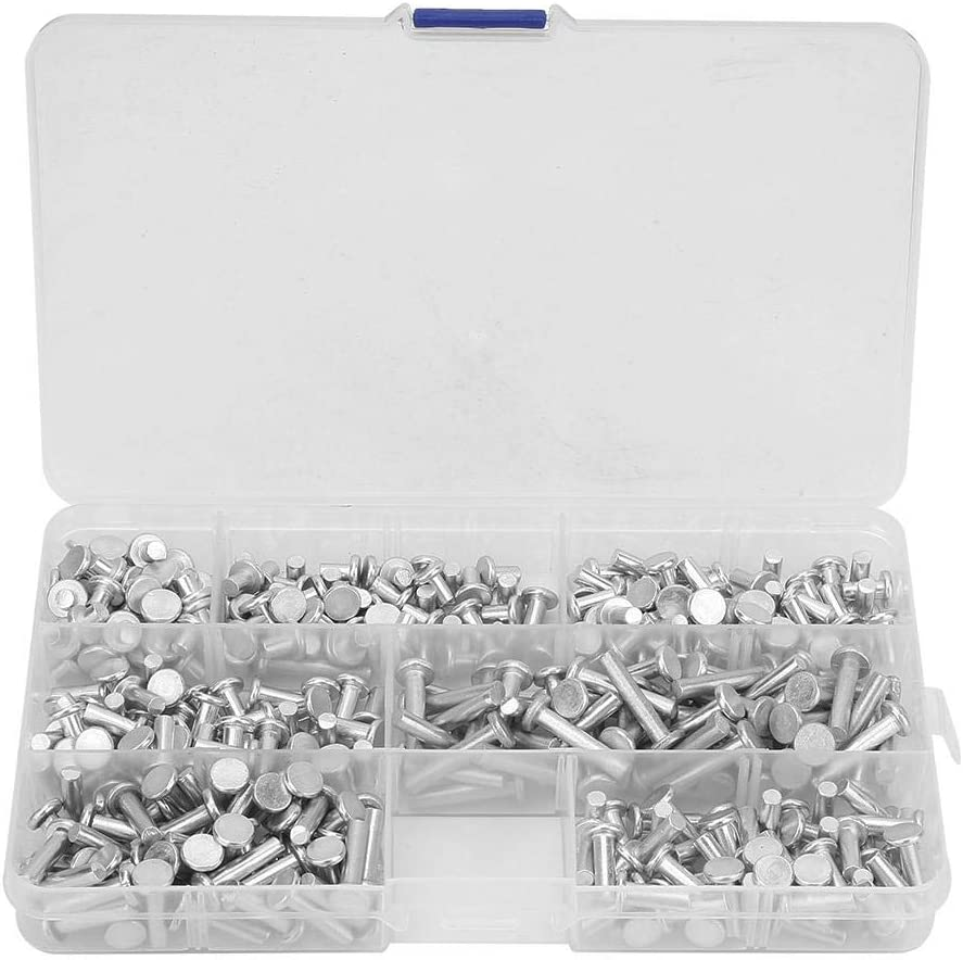 M4 Flat Head Solid Aluminum Rivets Nuts Blind Insert Nutserts Assortment Kit Length 4//6//8//10//12//16//20mm 350pcs