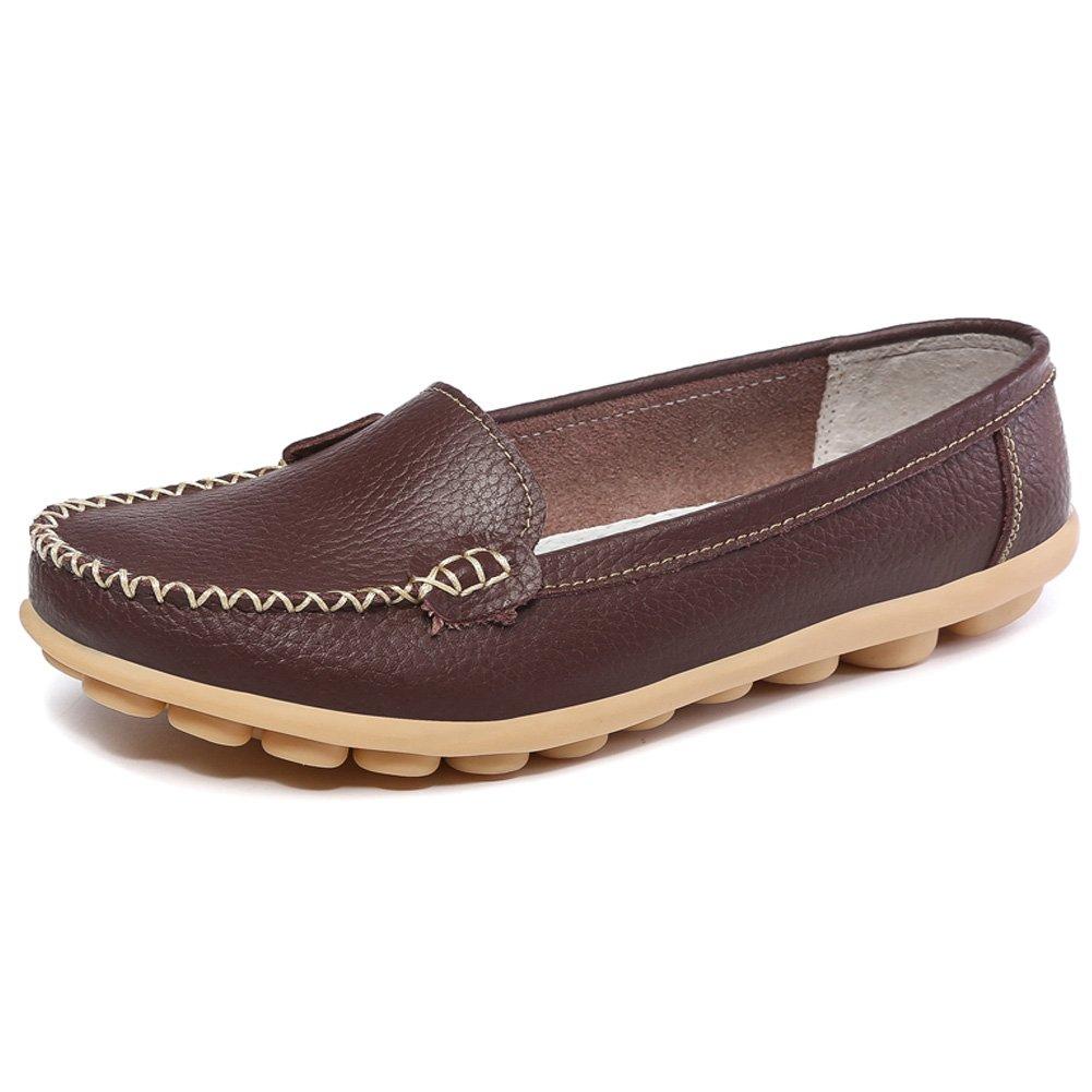 2a60146f2f9d SCIUN Damen Mokassin Freizeit Flache Schuhe Low-Top Leder Loafers Slipper  Erbsenschuhe 39 EU