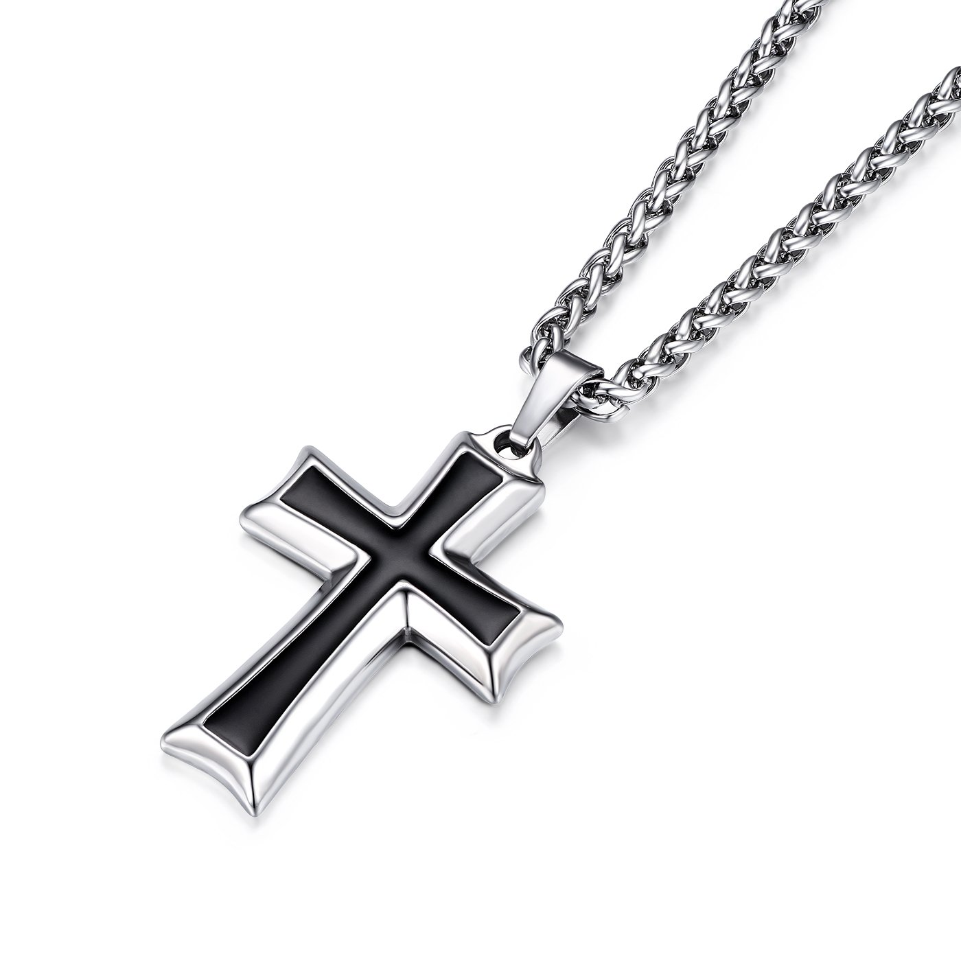 HZMAN Mens Stainless Steel Cross Pendant Necklace Flower Basket Chain (Silver)