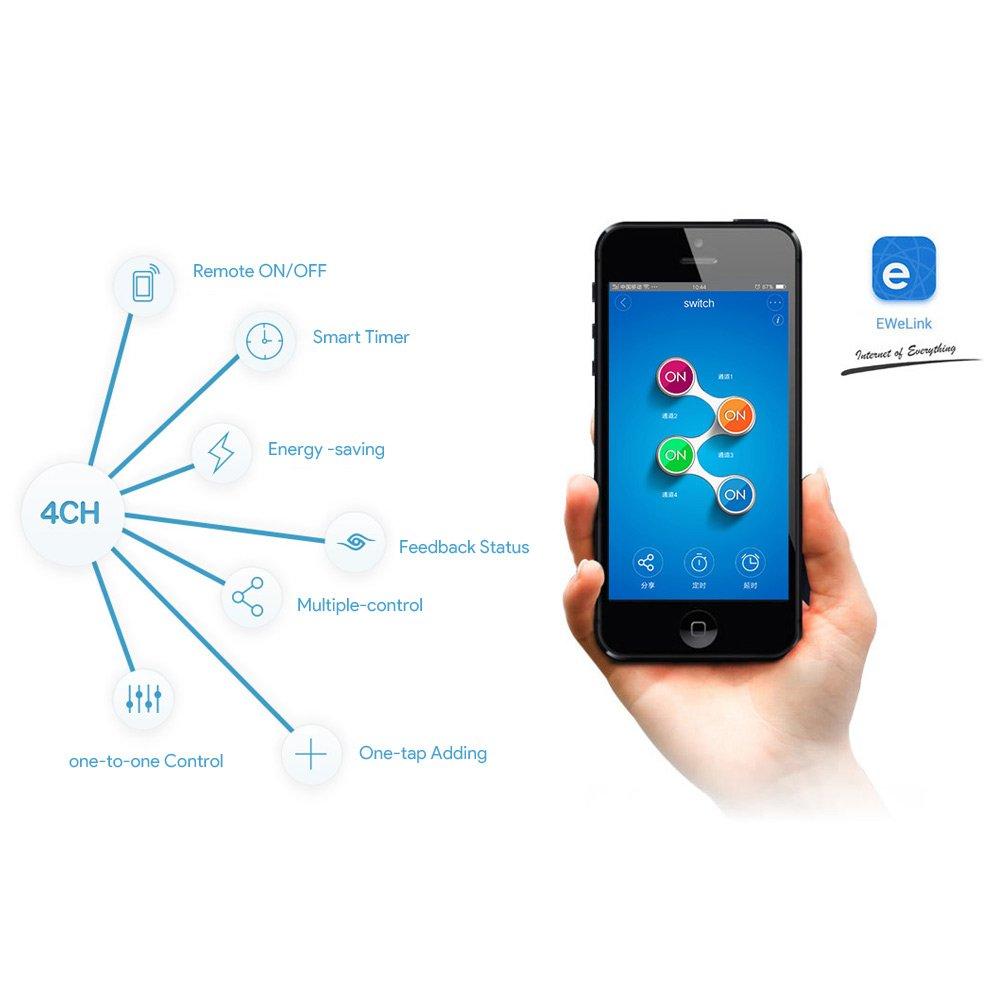 Sonoff 4CH 4 Canales Din Rail Mounting Conmutador WiFI para Casa Inteligente DIY,Control Remoto de Cuatro Aparatos independientes de forma ...