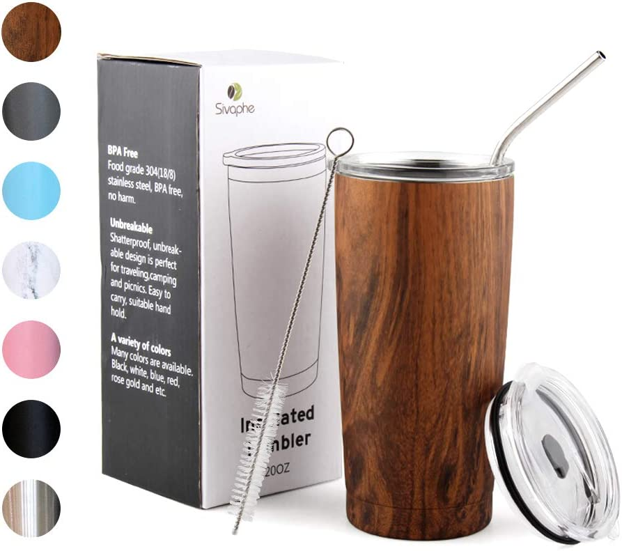 Tumbler with Lid and Straw 20oz Stainless Steel Insulated Double Wall Travel Coffee Mug Power Coated Thermal Cup for Men and Women Wood Grain