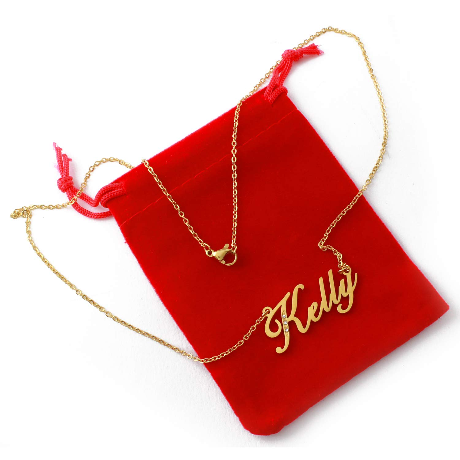 Gold Tone Incl Zacria Italic Name Necklace Kelly Crystals
