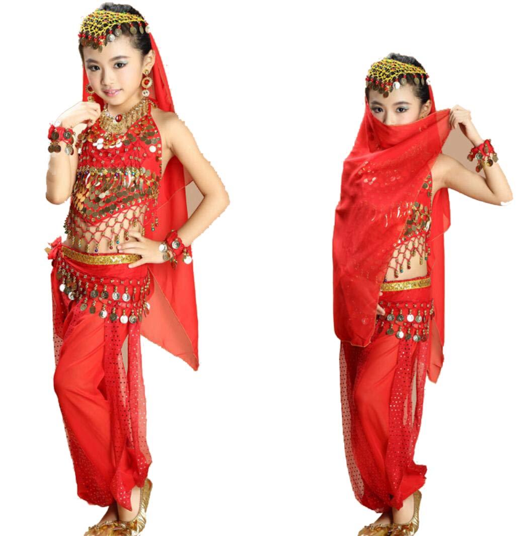 YZLL Mädchen indischen Tanz Bauchtanz Kostüm Bühnenkostüm Tanz arabische Prinzessin Halloween Costume7-teiliges Set B07NZG534N Bekleidung Bestseller