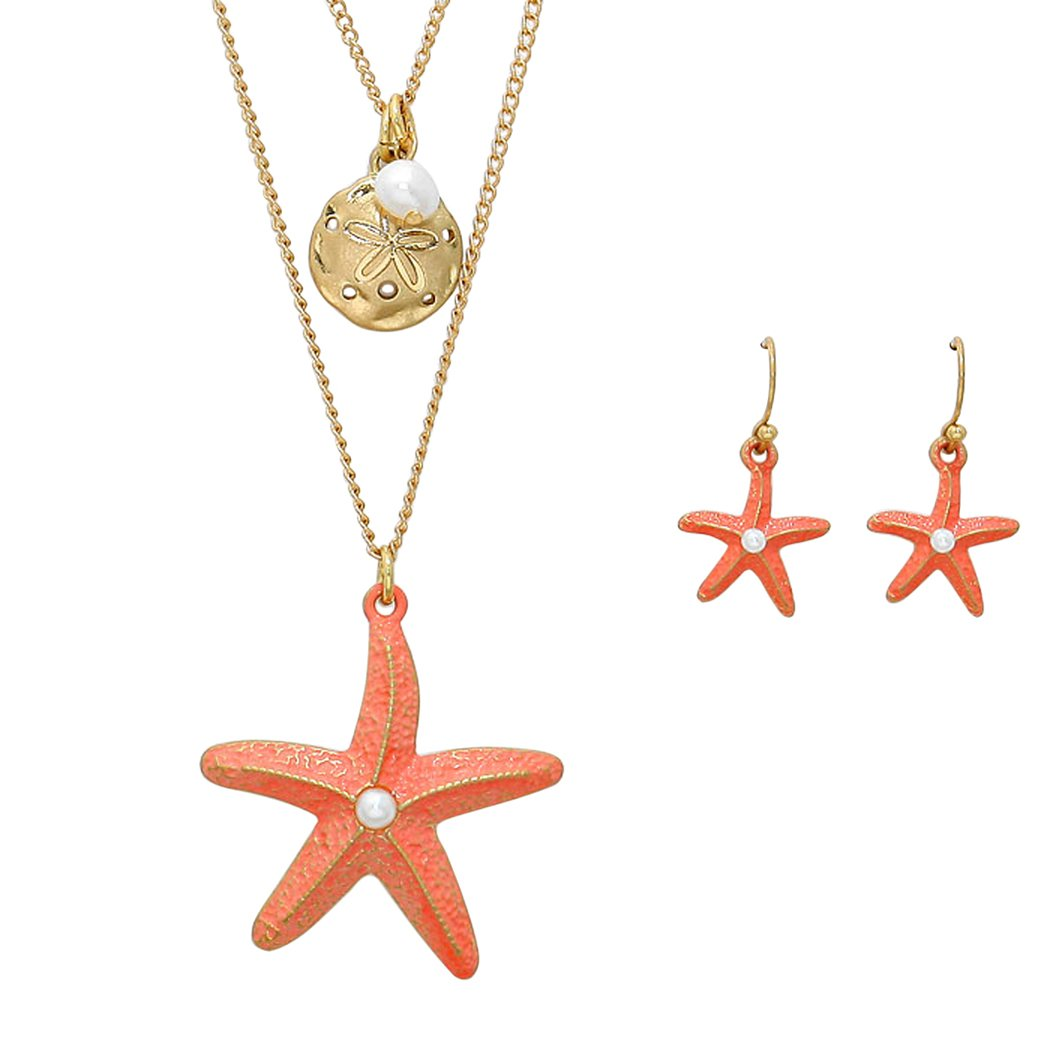 Rosemarie Collections Women's Double Chain Starfish and Sand Dollar Pendant Necklace Earrings Set
