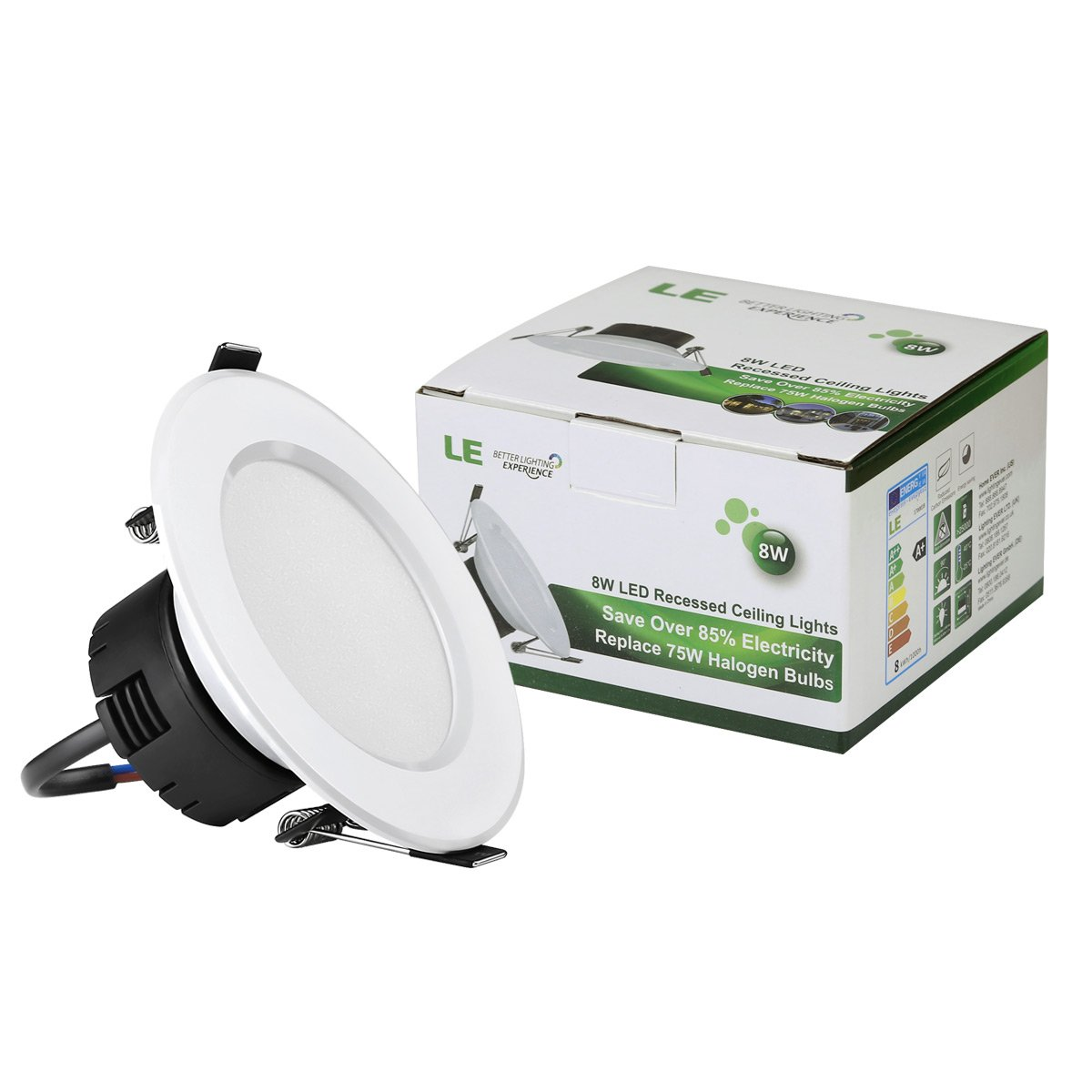 Le 8w 35 inch led recessed lighting 75w halogen bulbs equivalent le 8w 35 inch led recessed lighting 75w halogen bulbs equivalent not dimmable led driver included 400lm warm white 3000k 90 beam angle aloadofball Images