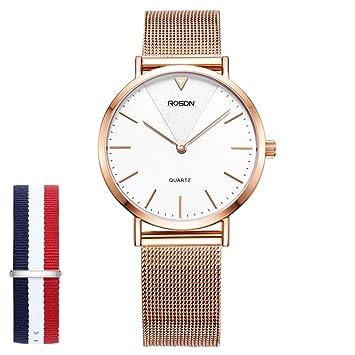 Amazon.com: Reloj de pulsera para mujer de moda de oro rosa ...