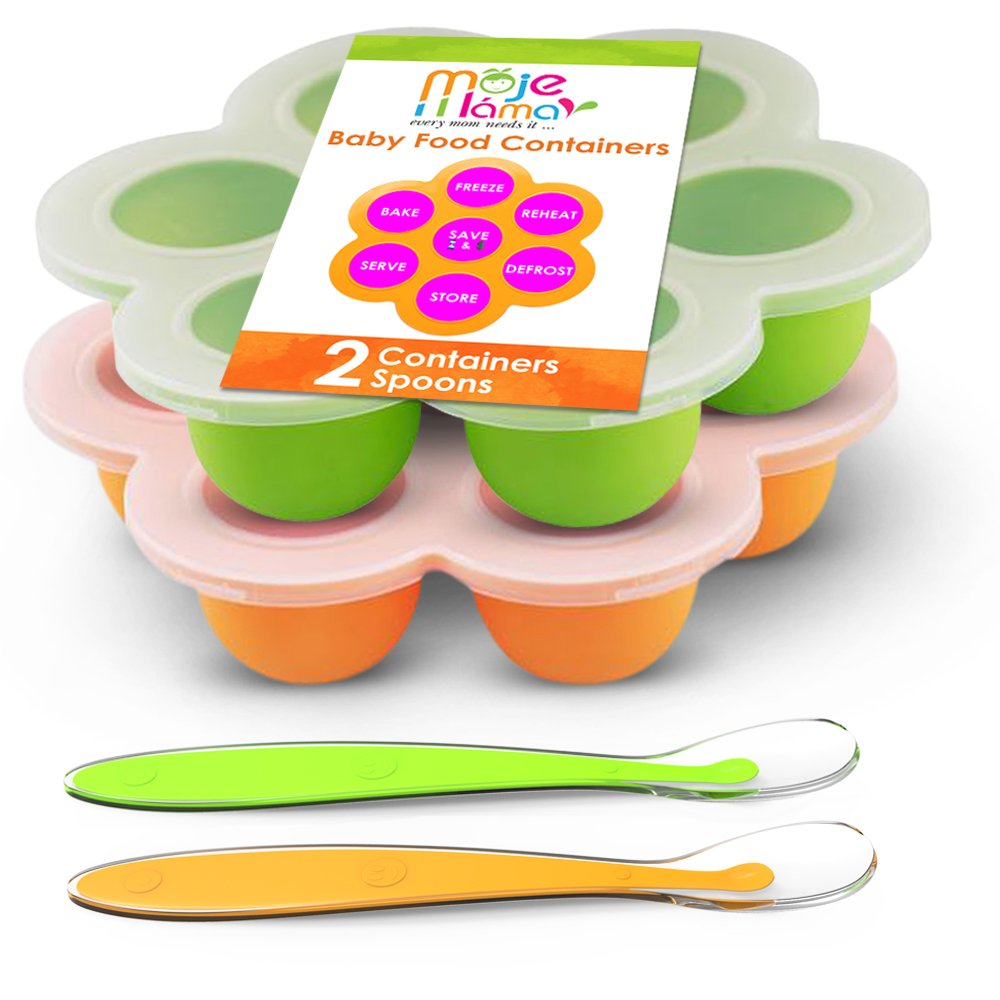 Baby Food Storage Container Freezer Trays - Reusable Food Container Silicon Tray - 2 Pack Bundle with 2 Bonus Spoons - 2.6 Ounce - Green & Orange