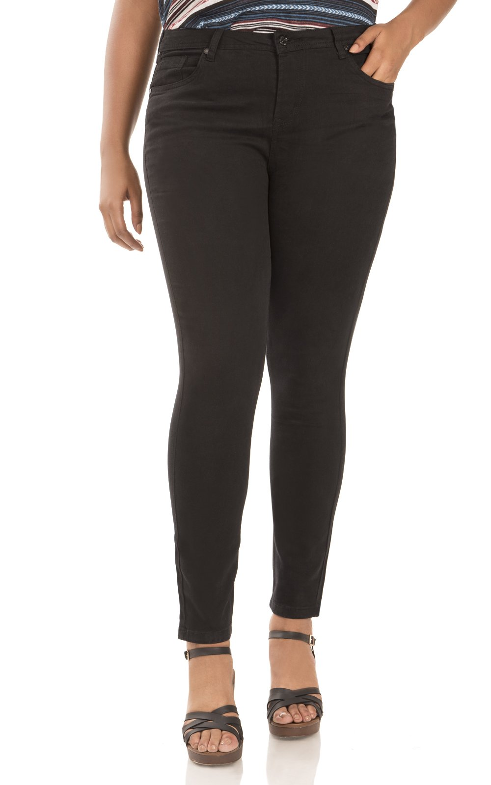 WallFlower Women's Plus Size Ultra Fit Skinny Jegging in Black Size:14