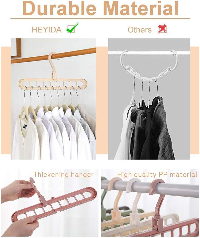 Family Essential Hanger WELLXUNK Clothes Hanger Organizer,Multifunction Rotate Anti-skid Space Saving Hangers,Pack of 6 Standard Hangers,Foldable Wardrobe Storage Coat Hangers Pink