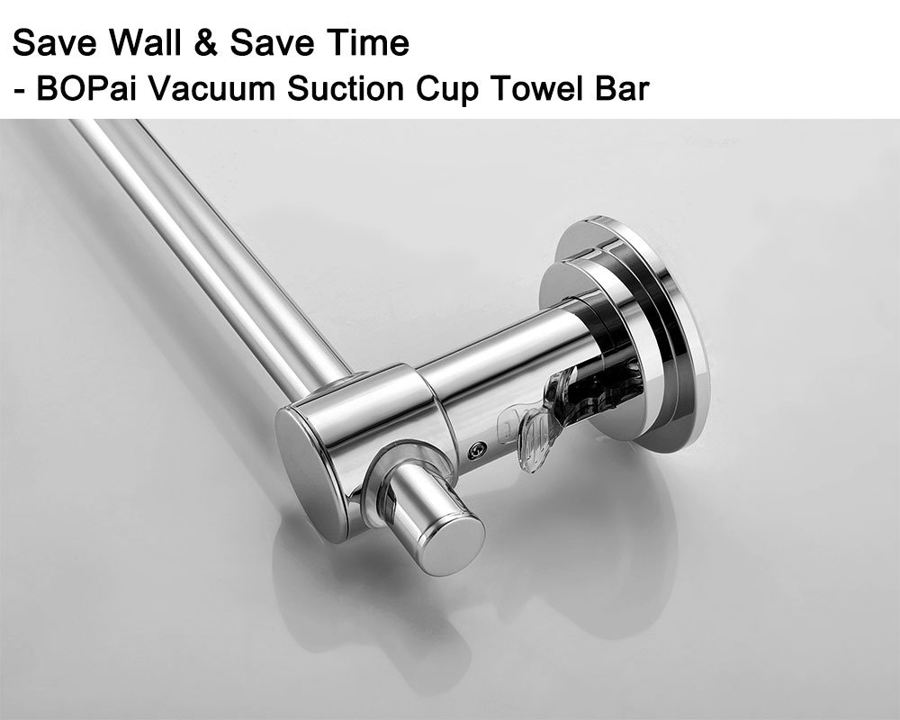BOPai 24 inch Vacuum Suction Cup Towel Bar,Removeable Shower Mat Rod Shower Door Adhesive Towel Bar Suction Towel Rack,Premium Chrome by BOPai (Image #2)