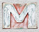XHFITCLtd Letter M Tapestry, Old Wood Capital Letter M Natural Worn Out Look Texture Language Image, Wall Hanging for Bedroom Living Room Dorm, 80 W X 60 L Inches, Coral White Cream
