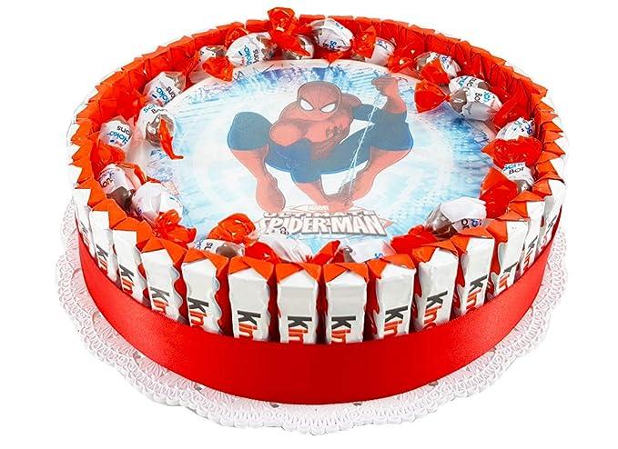 Torta barrette Kinder con cialda personaggio , kit fai da te (SPIDERMAN)  Amazon.it Alimentari e cura della casa