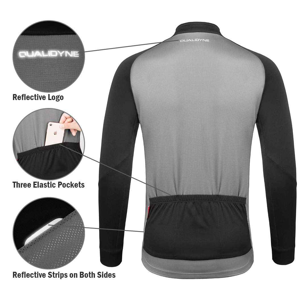 qualidyne Mens Cycling Bike Jersey Full Zipper Long Sleeves with Pockets,Road Bicycle MTB Bike Shirt