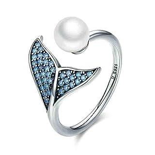 Swiftswan Anello nuziale opale regolabile Celebrity Style Doppio involucro Sovrapponendo sovrapponibile anello regalo di nozze