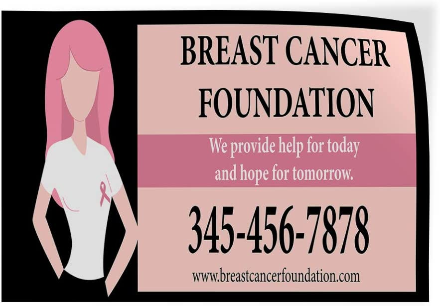 Custom Door Decals Vinyl Stickers Multiple Sizes Breast Cancer Foundation Phone Number Support A Cause Breast Cancer Foundation Outdoor Luggage /& Bumper Stickers for Cars Pink 24X16Inches Set of 10