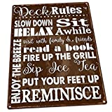 Deck Rules Rules Metal Sign, Motivational Rules to Live By, Positive Thinking, Modern Decor