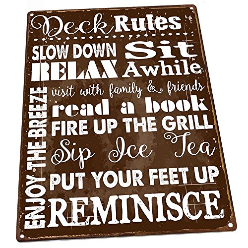 Deck Rules Rules Metal Sign, Motivational Rules to Live By, Positive Thinking, Modern Decor (Outdoor For Decks Signs)