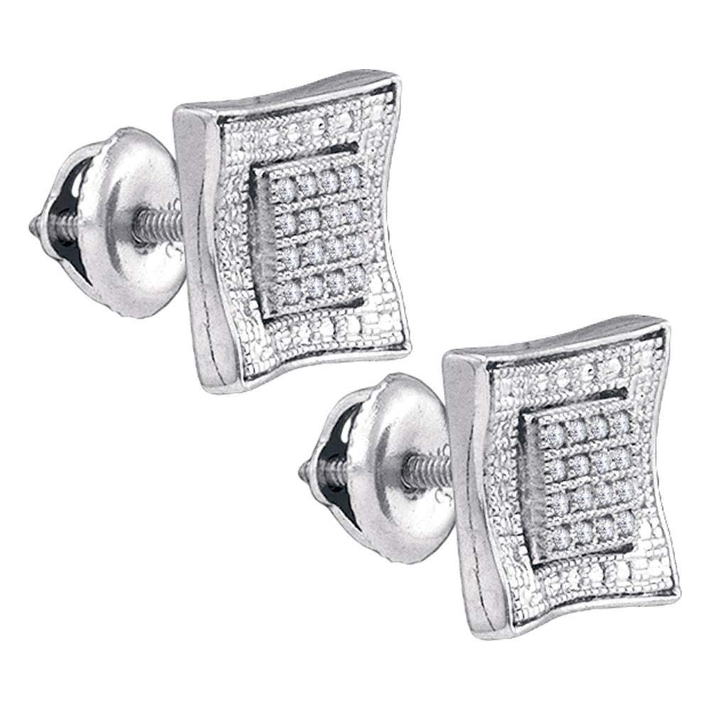 Sterling Silver Mens Round Diamond Square Kite Cluster Stud Earrings 1//10 Cttw