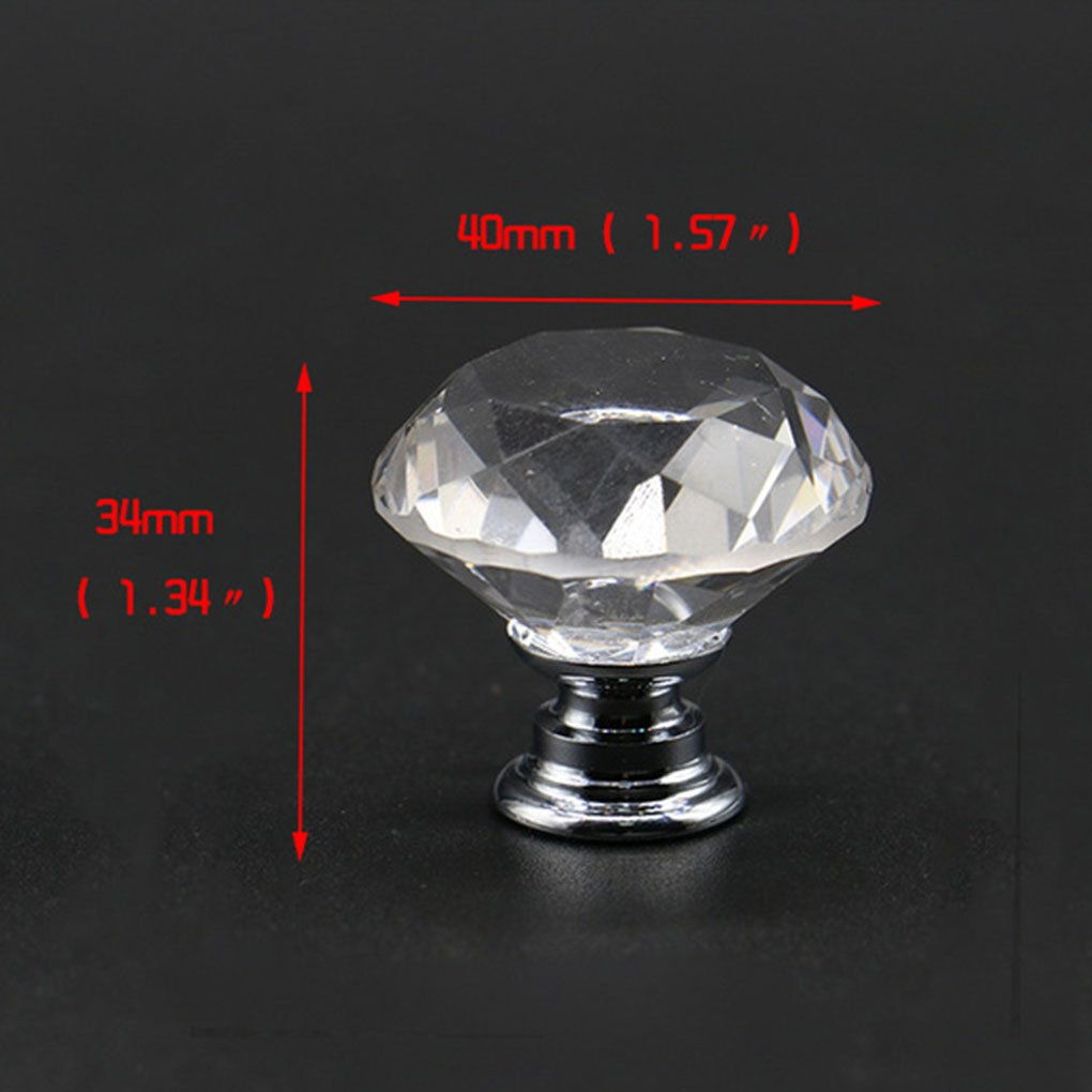 Focus Round Shape Crystal Glass Drawer Cabinet Knobs And Pull Handles Kitchen Door Handles Wardrobe Hardware 40mm