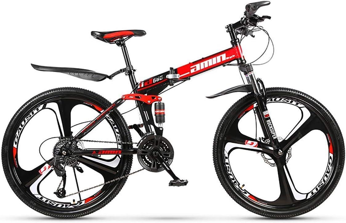 Bicicleta de montaña 24 Pulgadas Ruedas de 3 Rayos, Bicicleta Plegable 21/24/27/30 Velocidades Marco de Acero Doble suspensión Bicicleta Todo Terreno