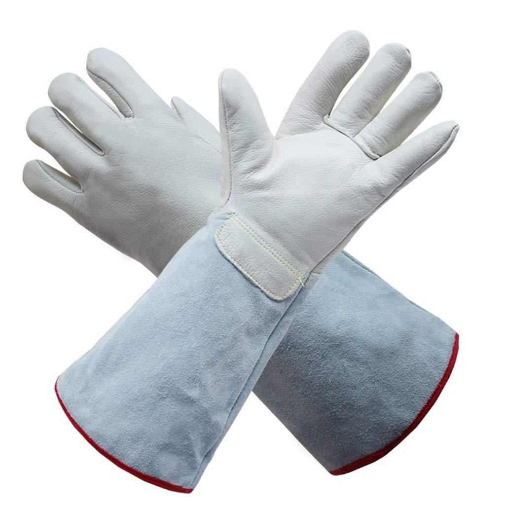 LSLMCS Leather Liquid Nitrogen Resistant to Low Temperature Gloves Industrial Welding Fireplace Welders Gloves High Temperature Gardening Gloves36-63cm (Size : M)
