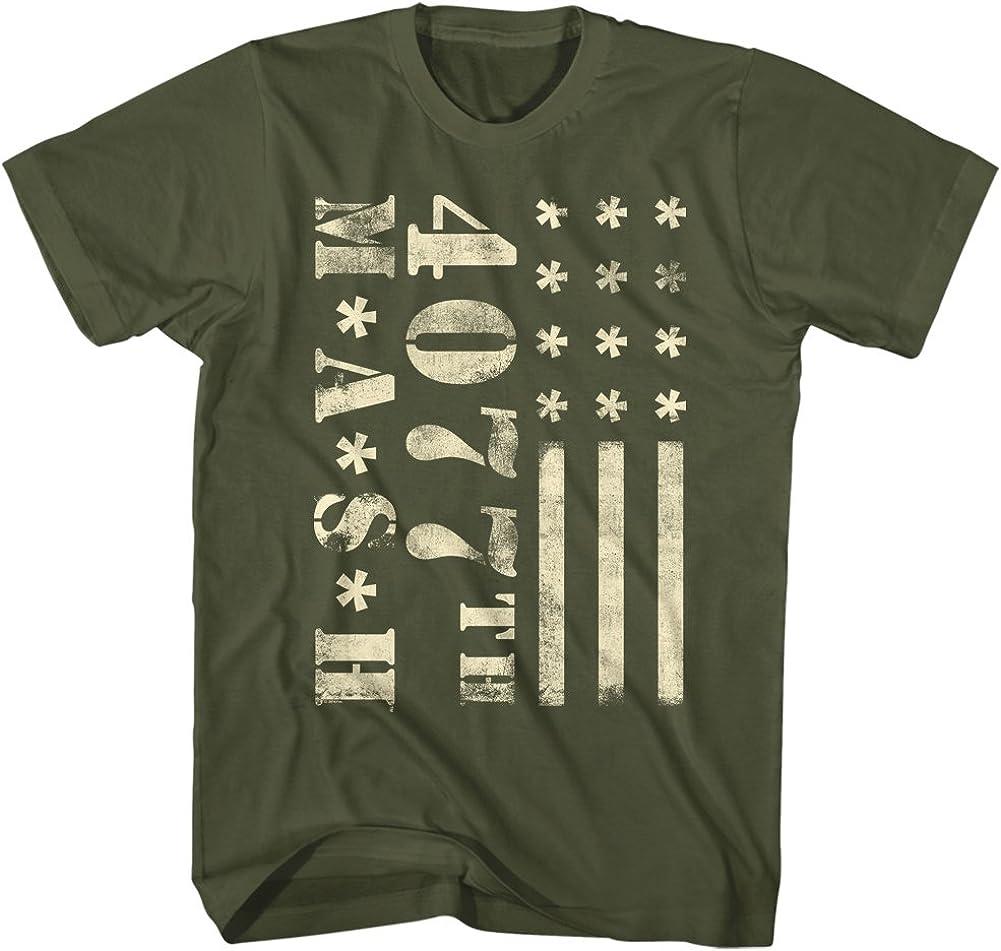 American Classics Mash Cream Flag T-Shirt Military Green Adult Unisex 100% Cotton Short Sleeve