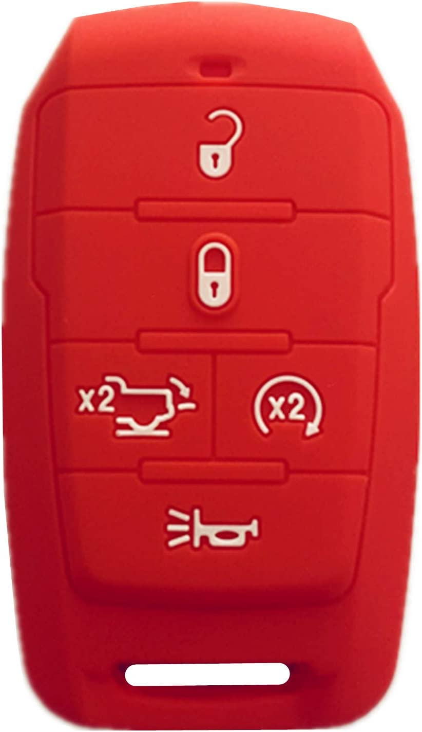 Rpkey Silicone Keyless Entry Remote Control Key Fob Cover Case protector Replacement Fit For 2019-2020 RAM 1500(5-Button with Tailgate)Gules