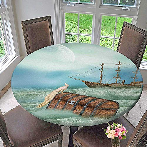 Modern Simple Round Tablecloth Old Trunk in Ocean Waves with Magic Bird Pirate Boat Picture Mint Green Decoration Washable 40