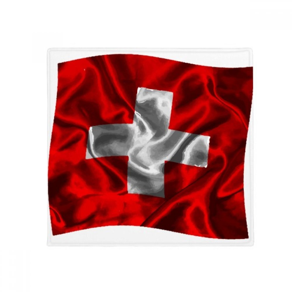 DIYthinker Silk Texture Switzerland Abstract Flag Pattern Anti-Slip Floor Pet Mat Square Home Kitchen Door 80Cm Gift
