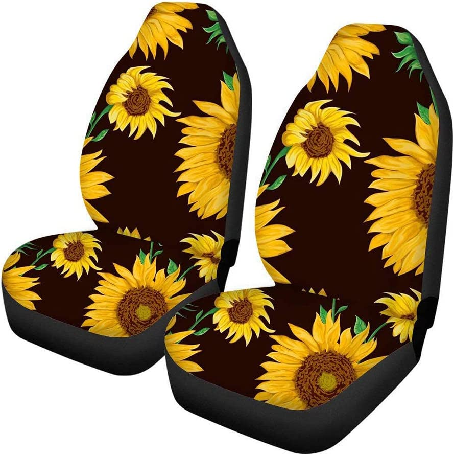 Aoopistc 2 Piece Car Front Interior Decor Sunflowers Universal Cars Seats Covers Suit for Most Cars SUV Sedan Trucks (Black)