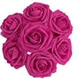 Ling's moment Artificial Flowers 50pcs Fuchsia Real Looking Artificial Roses w/Stem for Wedding Bouquets Centerpieces Party Baby Shower Decorations DIY