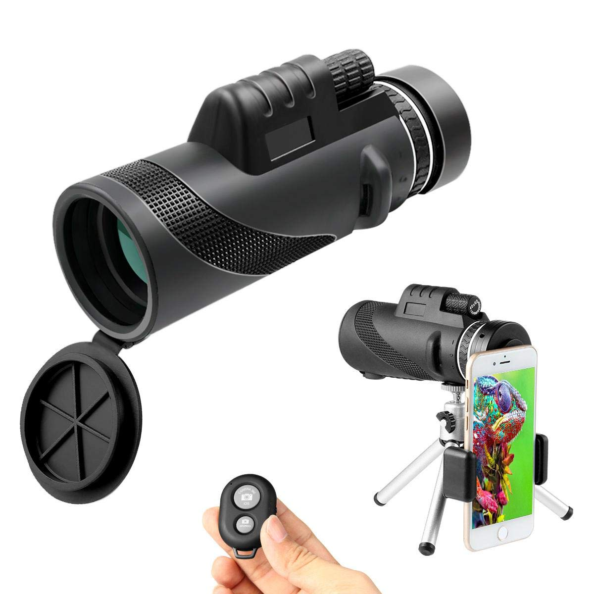 Teepao Monocular Telescope, 12x50 BAK4 Prism FMC High Power Telescopes with Phone Adaptor and Tripod, Low Night Vision Waterproof Fog-Proof for Bird Watching Hunting Camping Travelling