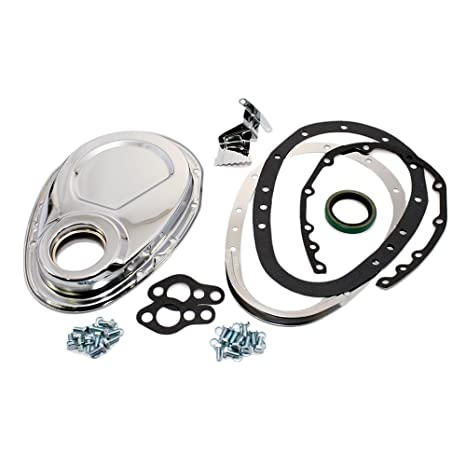 Assault Racing Products A7122 Small Block Chevy Chrome 2-Piece Timing Cover  Reinforced SBC