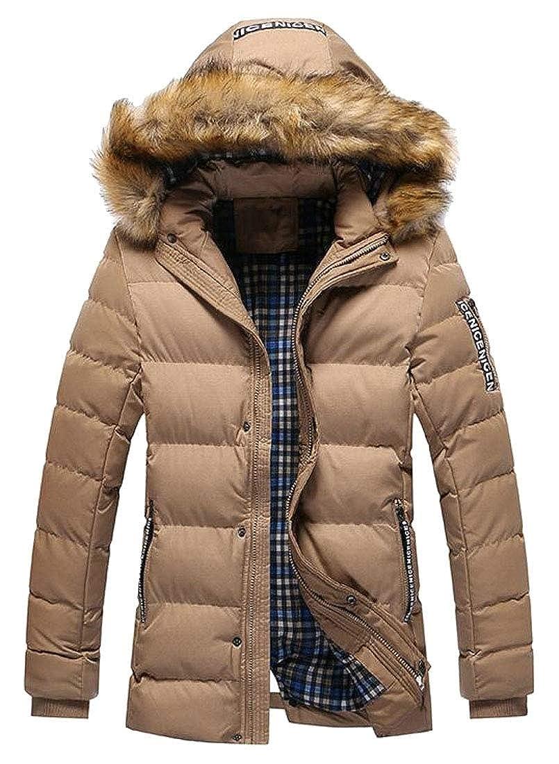 WSPLYSPJY Mens Winter Thick Warm Faux Fur Hood Zipper Down Puffer Jacket