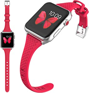 Compatible Watch Band 38mm 40mm Women Slim Silicone Watch Band Replacement for Apple Watch Series 4 3 2 1 S/M M/L Size (D-38mm 40mm Red)