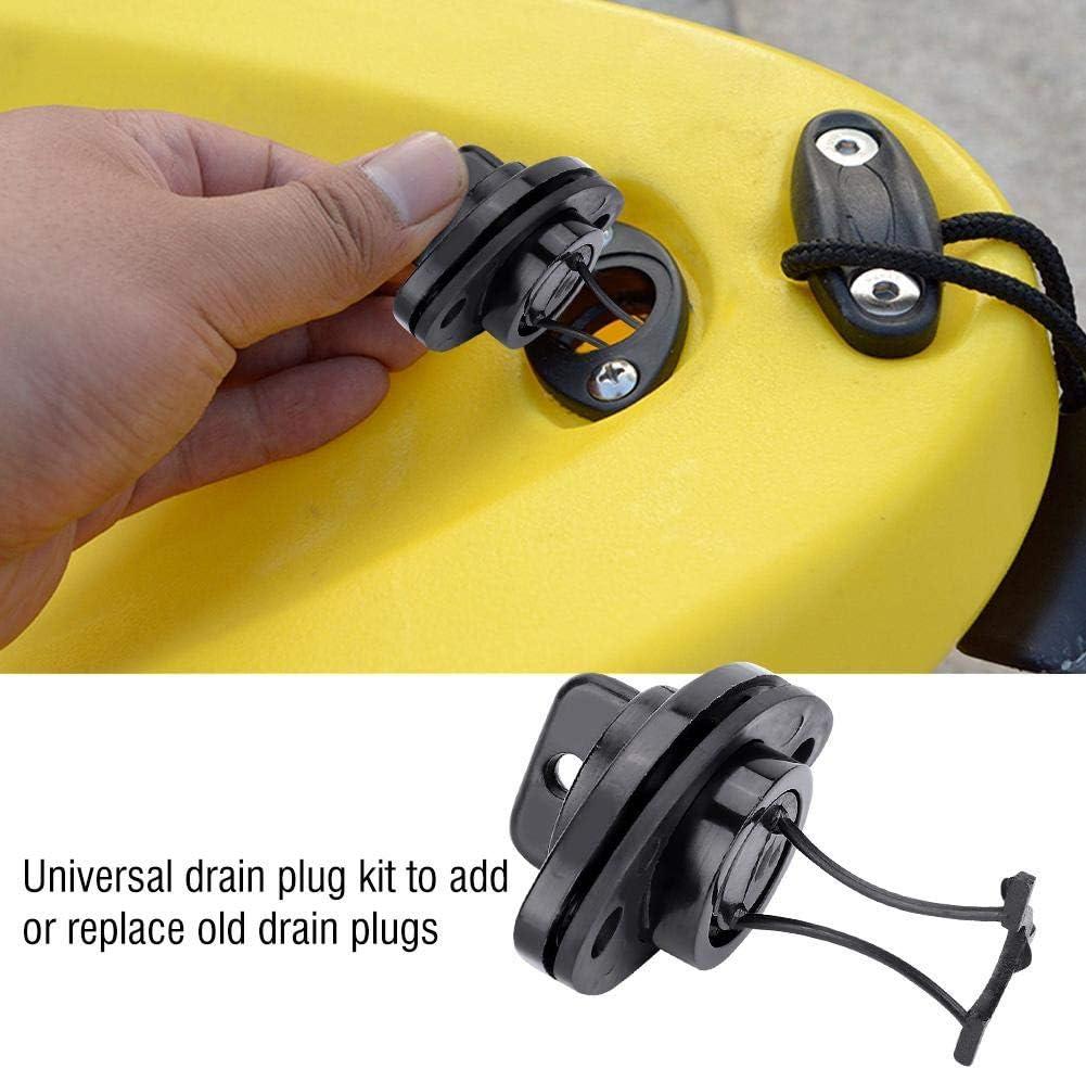 Black 2 x Portable Drain Plug Plug Stopper Scupper Bungs Drain Holes for Boat Kayak Boat Canoe Dinghy Universal SolUptanisu Kayak Plug