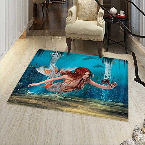 6 Sienna Burnt Light - Mermaid Print Area Rug Lifelike Mermaid Holding a Sea Lily Magic Aquatic World Theme Perfect Any Room, Floor Carpet 4'x6' Light Blue Burnt Sienna Yellow