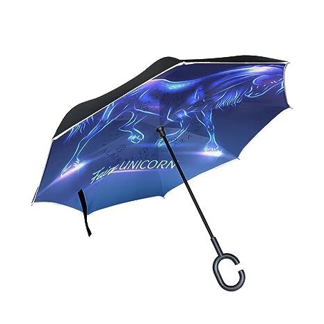 COOSUN Hada del unicornio con las chispas de la capa doble del paraguas invertido inversa para