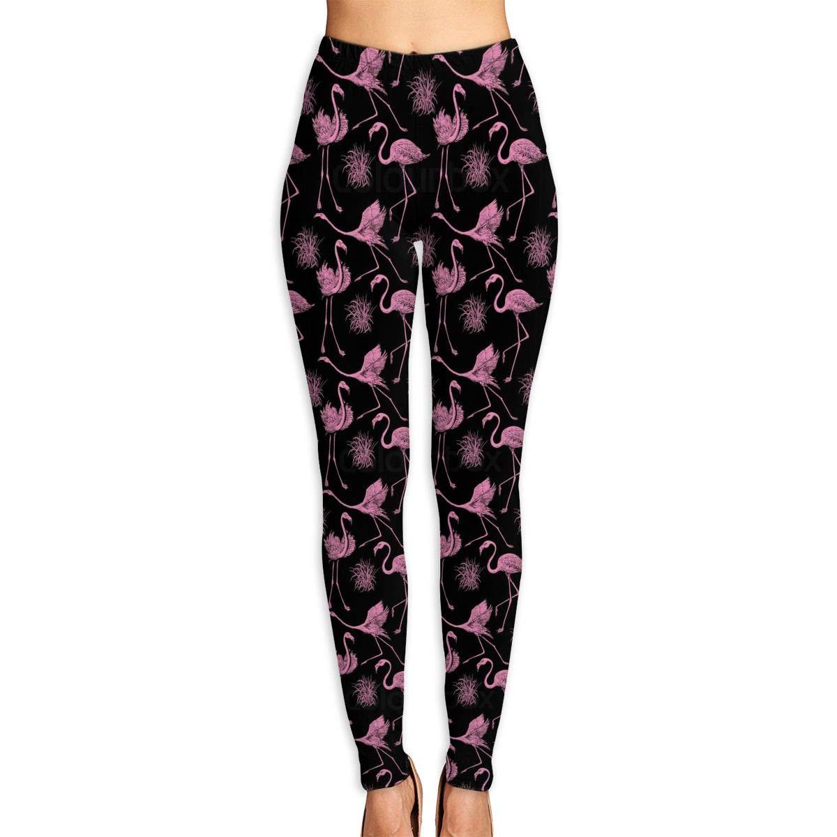 fda9c207b736a Amazon.com: Fly Flamingo Feather Women's Yoga Capri Pants Active Sport  Workout Running Leggings: Clothing